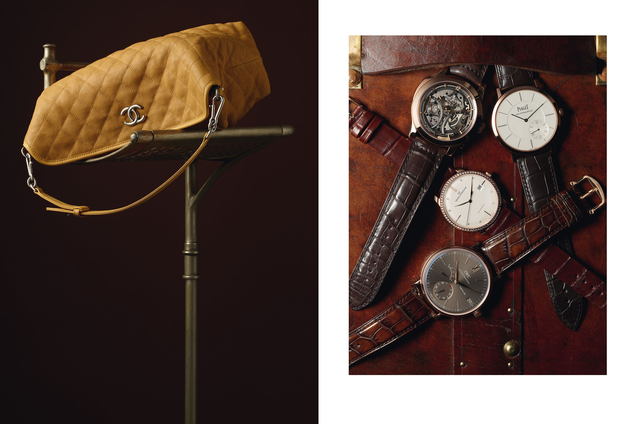 PRINTEMPS Catalogue Noël. Voyage de Luxe. Accessoires Horlogerie Omega Jaeger Lecoultre Piaget Girard Perregaux IWC Maroquinerie Chanel