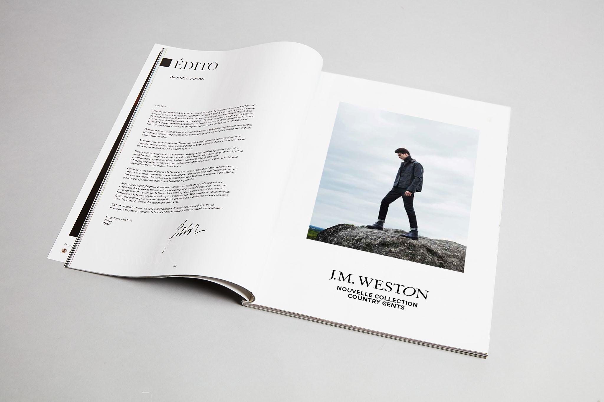 J.M. WESTON Country Gents. Mocassin Manufacture française Made in France Soulier Luxe Campagne Publicité