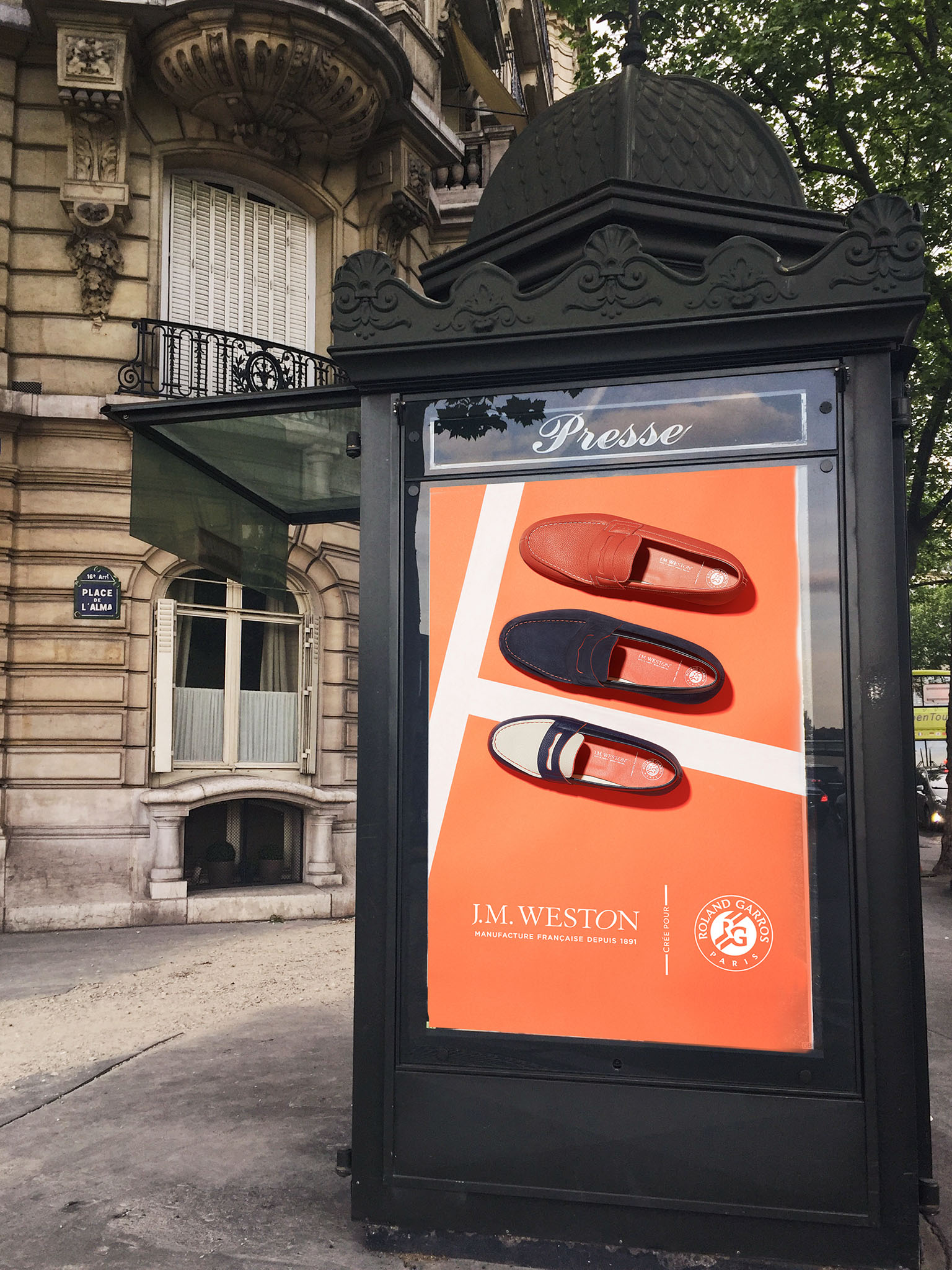 J.M. WESTON x Roland Garros. Mocassin Manufacture française Made in France Soulier Luxe Campagne