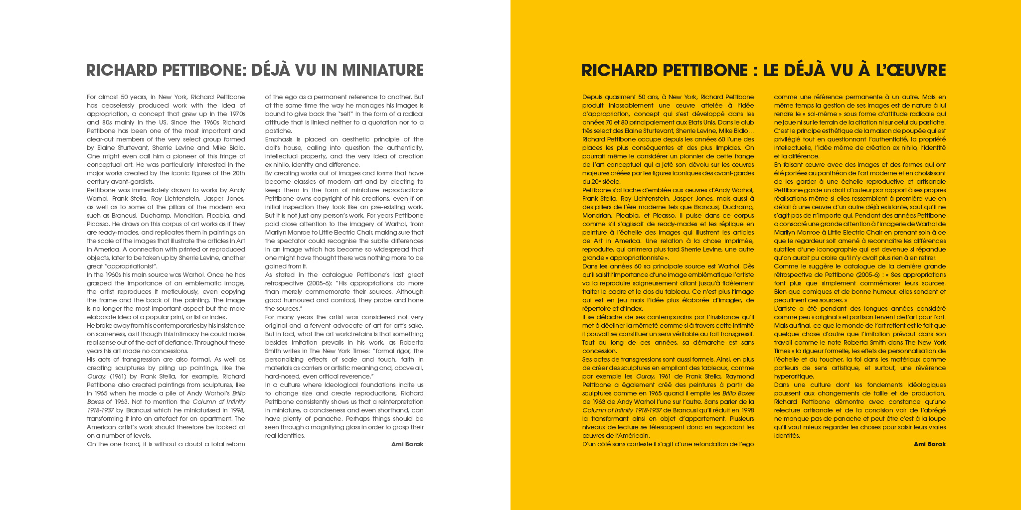 GALERIE MITTERRAND Catalogue Richard Pettibone. Exposition Art contemporain Tableaux